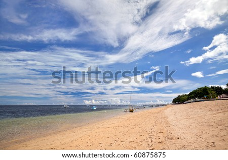 Indonesian sea and beach landscape at Bali island - stock photo