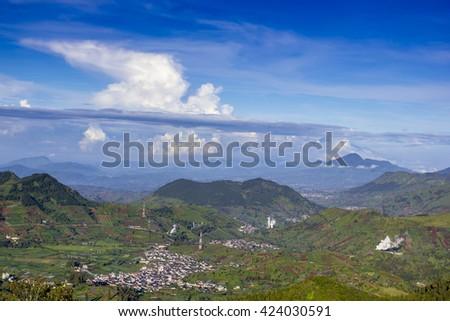 Indonesian traditional village view from prau mount - stock photo