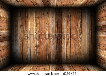 indoor backdrop of wooden room with all surfaces finished in wood planks