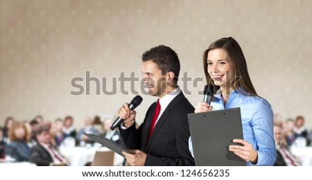 Indoor business conference for managers in hotel. - stock photo