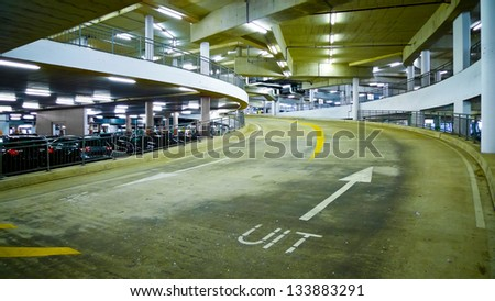 Indoor car park ramp in Amsterdam, Netherlands - stock photo