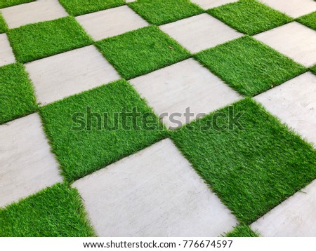 Indoor Creative Garden Floor With Square Concrete Tile And Grasses Appears  Like Chessboard.