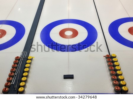 Indoor curling sheets in a sports center, edmonton, alberta, canada - stock photo