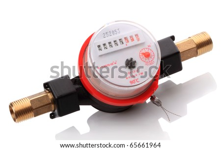 Indoor Hot water meters used for measuring consumption of water in buildings / houses. - stock photo