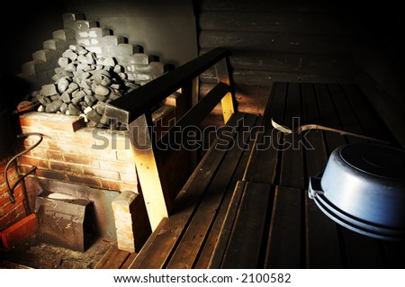 Indoor image of old Finnish smoke sauna - stock photo
