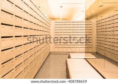 Indoor Locker wooden MailBoxes postal for keep your information, bills,postcard,mails etc - stock photo