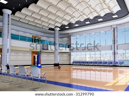 Indoor modern gymnasium - basketball.3D render - stock photo