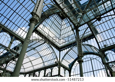 indoor Palacio de Cristal in Parque del Retiro, in Madrid, Spain