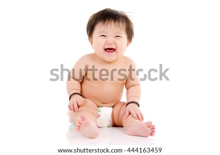Indoor portrait of beautiful asian baby girl
