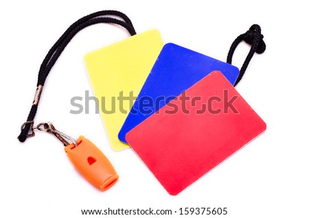 Indoor soccer referee kit, whistle and color cards - stock photo