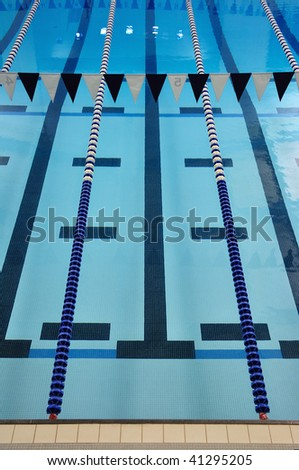 Indoor Swimming Pool Lane Lines Backstroke Stock Photo