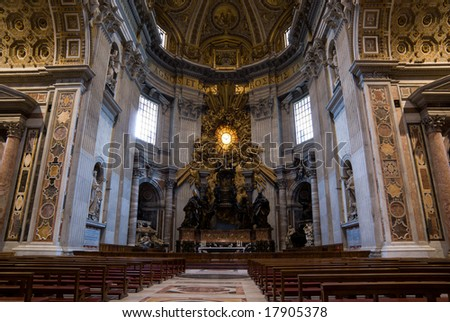 Indoor view of St Peter's Church in Rome. - stock photo