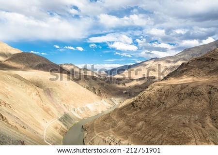 Indus river valley near Leh in Ladakh, India - stock photo