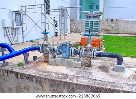 industrial air condition pipes cooler fire filter plumbing - stock photo