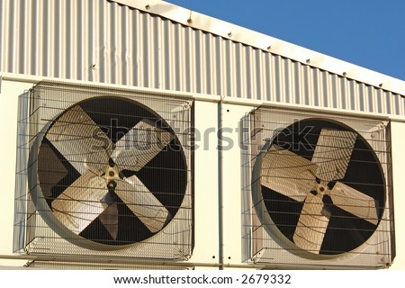Industrial air conditioner and ventilation installation in plant - stock photo