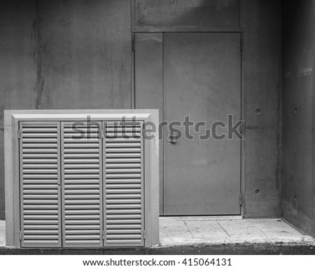 Industrial air conditioner on concrete background. Industrial modern background.