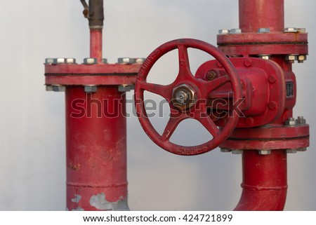 Industrial and building fire extinguishing system, water pipe. - stock photo