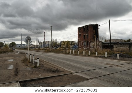 Industrial area in cloudy autumn day in Russia - stock photo