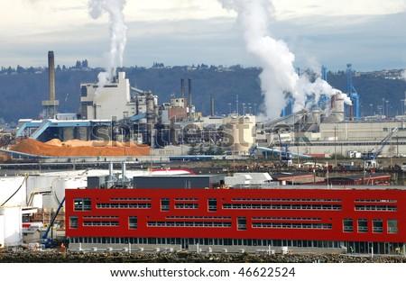Industrial area Port of Tacoma WA. - stock photo