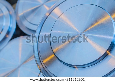 Industrial background from circle metalic parts  - stock photo