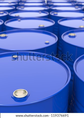 Industrial Background with Blue Barrels. - stock photo