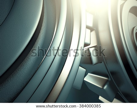 industrial background with blue gear wheels. 3d render illustration