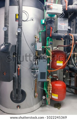 industrial boiling system for heating, close up