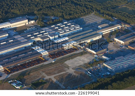Industrial building of machine building industry in the Lower Rhine Region of Germany - Winergy in Voerde, North Rhine-Westfalia, Germany, Europe - stock photo