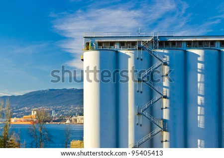 Industrial Building over fantastic blue sky and ocean view in Vancouver, Canada.
