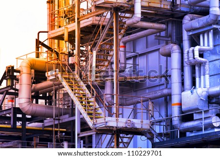 Industrial building, Steel pipelines - stock photo