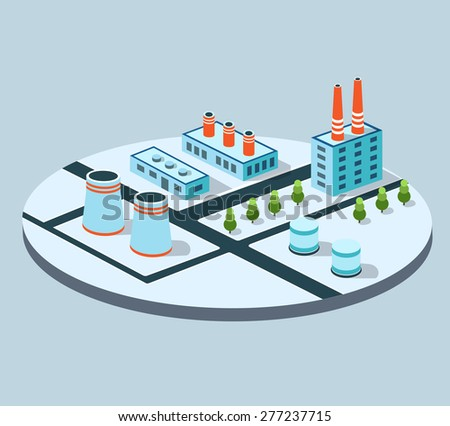 Industrial buildings, factories and boilers in perspective for design and creativity - stock photo