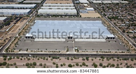 Industrial buildings from the air over Phoenix, Arizona - stock photo