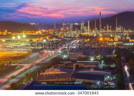 Industrial buildings of a petrochemical plant - stock photo