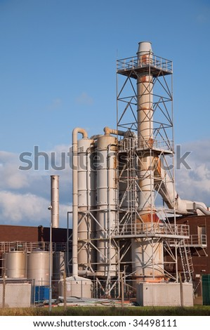 industrial Chemical plant outside pipes and vents - stock photo