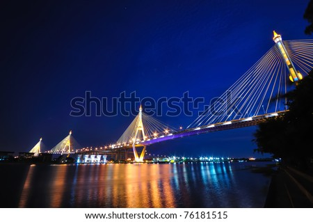Industrial circle bridge at night in Bangkok, Thailand - stock photo