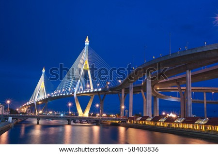 Industrial Circle Bridge in Bangkok, Thailand at twilight. - stock photo