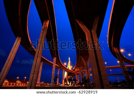 Industrial Circle Bridge in Bangkok, Thailand at twilight - stock photo