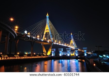 Industrial circle bridge, It is named Bhumibhol bride 1 and 2  at twilight. - stock photo