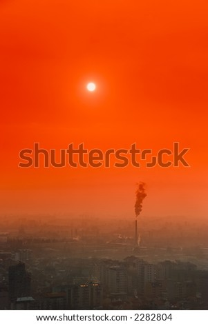 Industrial city at sunset in Macedonia - stock photo
