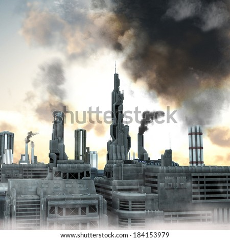 Industrial City, 3D render of a polluted future belching smoke into the  sky - stock photo
