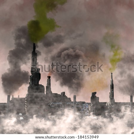 Industrial City, 3D render of a polluted future pouring chemicals into a dark smoky sky - stock photo