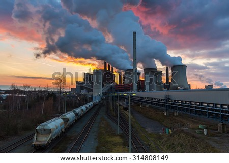 industrial coal power station on sunset, germany - stock photo