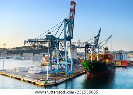 Industrial commercial port in the morning. Ancona, Italy - stock photo