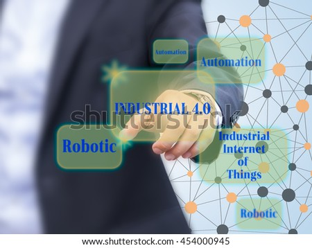 Industrial 4.0 concept. Business man pointing to  virtual banner with Industrial 4.0 word and its components.