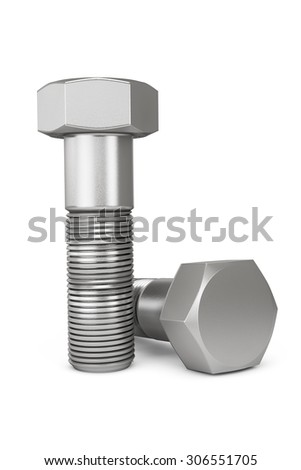 Industrial Concept. Closeup Bolts on a white background - stock photo