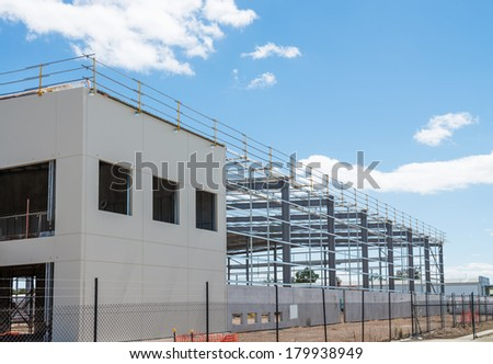 Industrial construction site against the blue sky - stock photo