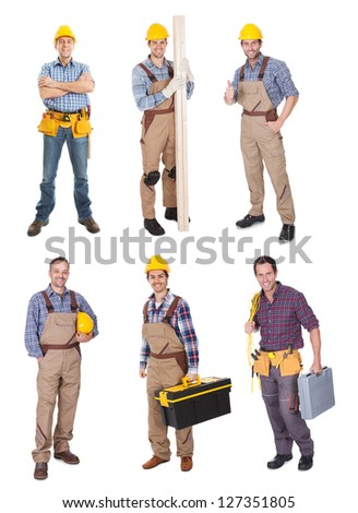 Industrial construction workers. Isolated on white background - stock photo