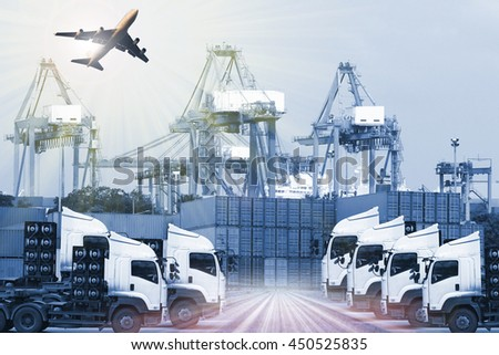 Industrial Container Cargo freight ship for Logistic Import Export concept - stock photo