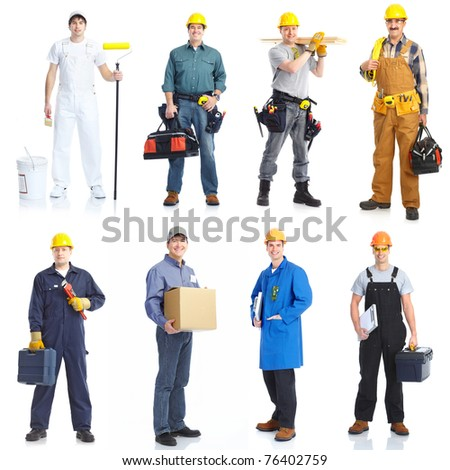 Industrial contractors workers people. Isolated over white background