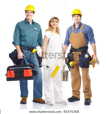 Industrial contractors workers people. Isolated over white background - stock photo